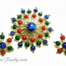 Gold Starburst Brooch Pin Earrings Sarah Coventry Atomic Red Green Blue Carnival 70s