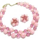 Lisner Vintage Bead Necklace Clip Earrings Pink Rose Double Strand Nugget Chunky Designer Jewelry