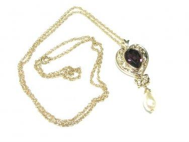 Amethyst Rhinestone Neckleace Heart Pendant Gold Pearl Drop Victorian 1987 Avon Art Nouveau