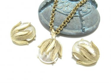 Coventry Large Pearl Drop Pendant Necklace Earrings Faux Gold Baroque Petals Vintage
