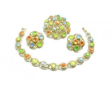 Coventry Moon Lites Bracelet Earrings Brooch Parure 1970 Rhinestone Orange Green Yellow Blue Mint