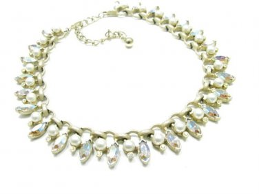 "Kramer AB Rhinestone Choker Necklace Pearl Brushed Gold Marquise 15"" Bridal Formal Designer Vintage"