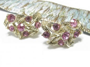 Hot Pink Rose Rhinestone Earrings Vintage Star Gold Leaf Vine 1940s Prom Bridal Formal Screw Back