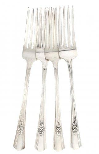 International Silver Wm Rogers Dinner Forks Desire Silverplated 1940 Flatware Flower Lot