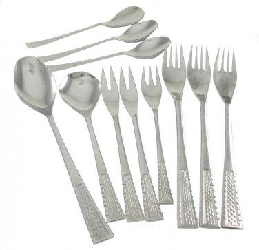 Hoogosil Solingen Flatware Serving Spoon Dessert Olive Fork Sugar Demitasse Basketweave 10