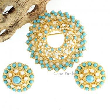 Aquarius Brooch Pin Earrings Coventry Turquoise Rhinestone Gold 60s Retro Mod Jewelry Set