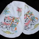 Kitten Cat Tole Painted Scarf Dresser Table Flowers Blue Pink Gray Yellow Vintage