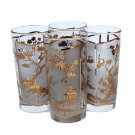 Hollywood Regency Tea Cocktail Glasses Pagoda Asian Lotus Tree Gold Leaf 10 Oz Tall Boy Barware