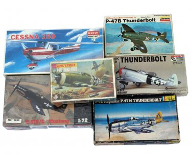 Model Airplane Kit Lot P-47B Thunderbolt P-51 D Mustang P51B/C Bullfrog Cessna