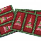 Woven Tapestry Christmas Placemats Table Runner Holiday Tree Green Crimson Mod