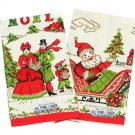 Parisian Prints Christmas Kitchen Bar Towels Santa Sleigh Noel Woman Child Caroler Set 2 With Tags