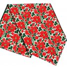 Vera Neumann Christmas Poinsettia Table Cloth Runner Vintage Holiday Decor Linen 86 x 14  Mantle