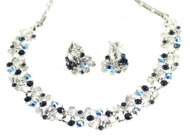 Lisner Rhinestone Necklace Earrings Aurora Borealis Blue Silver Vintage Fashion Jewelry Designer