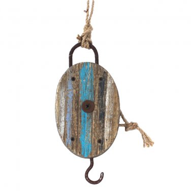 Nautical Pulley Reclaimed Wood Distressed Coastal Decor Rustic Lake Blue White
