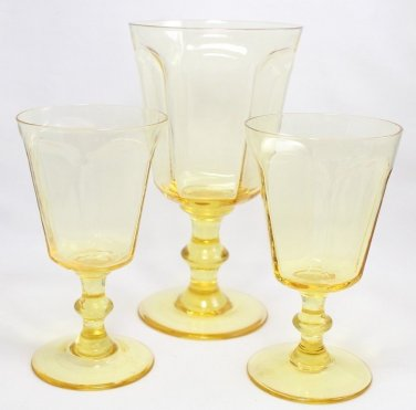 Lenox Antique Wine Glass Water Goblet Yellow Paneled Hand Blown Crystal NOS