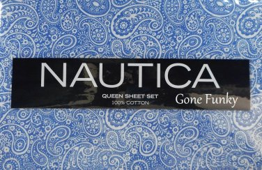 Nautica Queen Sheet Set Blue White Paisley La Plata Soft Cotton 300 Ct Bedding