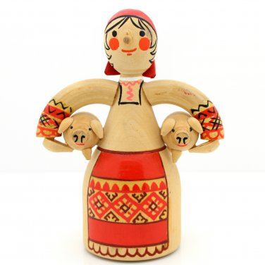 Wooden Doll Russian Woman Figurine Holding Pigs Farm Folk Art Vintage Carved Novelty