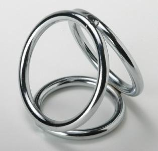 Triple Chrome Cock and Ball Ring
