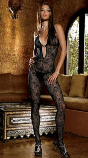 Rose Lace Halter Bodystocking with Rhinestone Charm