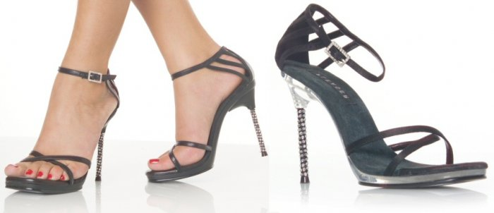 """Monroe"" - Women's Rhinestone Heel Sandals/Shoes with Crisscross Toe Strap"