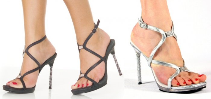 """Monroe"" - Women's Strappy Rhinestone Heel Sandals/Shoes with Rhinestone Accents"
