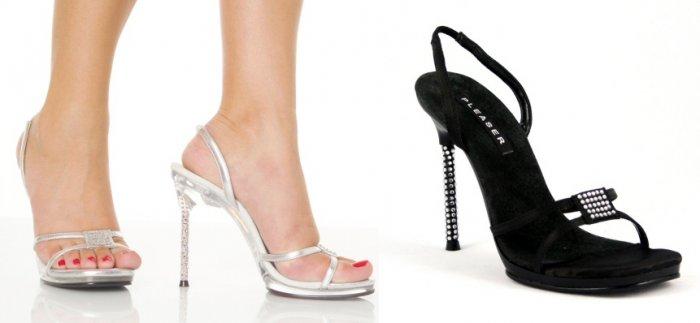 """Monroe"" - Women's Rhinestone Heel Slingback Sandals/Shoes with Rhinestone Toestrap Accent"