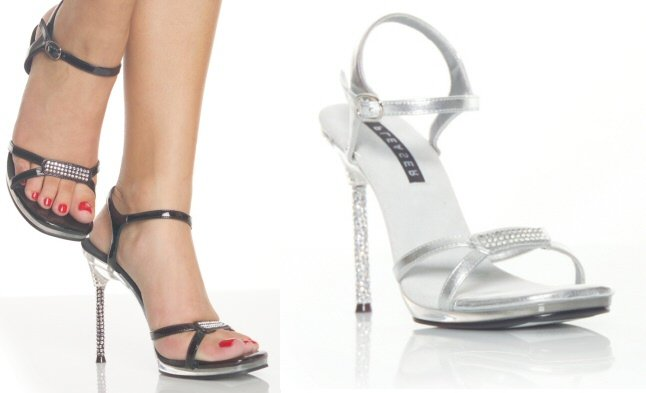 """Monroe"" - Women's Rhinestone Heel Sandals/Shoes with Rhinestone Toestrap Accent"