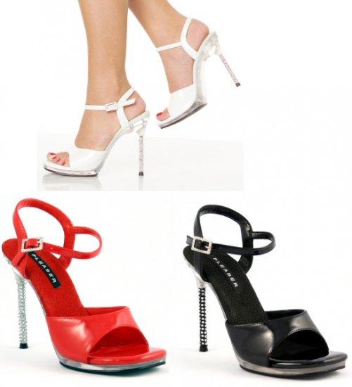 """Monroe"" - Women's Rhinestone Heel Ankle Strap Sandals/Shoes"