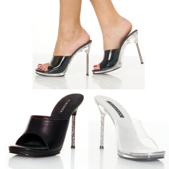 """Monroe"" - Women's Rhinestone Heel Accent Mules/Shoes"