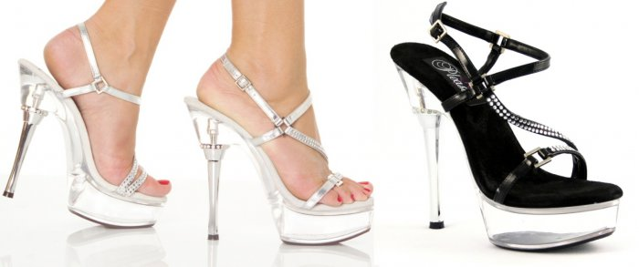 Women's Multi-Strap Rhinestone Studded Stiletto Heels with Metallic Accents