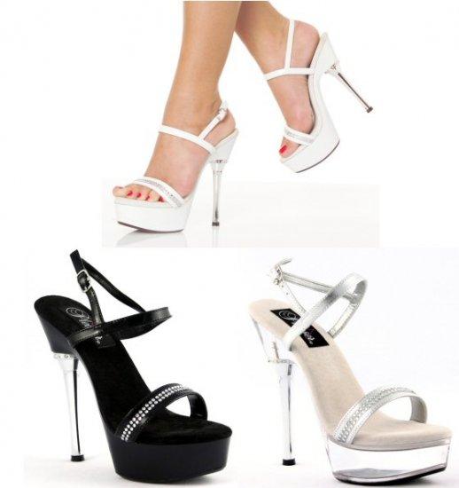 Women's Stilleto High Heel with Thin Rhinestone Strap and Buckle