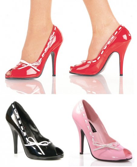 """Seduce"" - Women's Peep Toe Pumps/Shoes with Contrast Lacing & Bow"