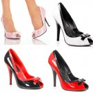 """Seduce"" - Women's Peep Toe Pumps/Shoes with Contrast Heel & Bow"