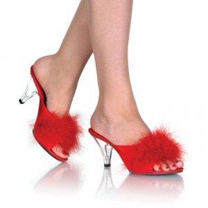 Belle - Women's Clear Heel Shoes with Marabou Fur Trim
