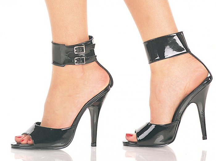 """Seduce"" - Women's Open Toe Stiletto Sandals/Shoes with Buckled Ankle Strap"