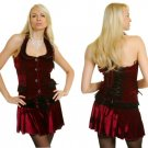 Junior / Missy Velvet Tops with Front Button Up and Lace Accented Halter