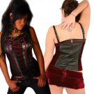 Junior / Missy Leather and Velvet Corset Tops with Front Lace Up