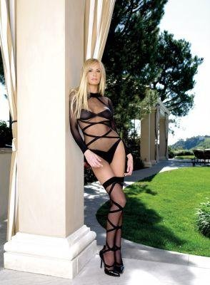 2 Piece Criss Cross Sleeved Bodysuit and Stocking Set