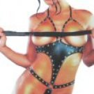 Vamp - Wet Look Open Bust Teddy with Metal Ring and Stud Design