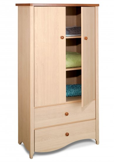 Bedrood Wardrobe Clothes Armoire w/ 2 Drawer Chest + 2 Shelves