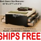 Black QUEEN SIZE PLATFORM STORAGE BED 12 DRAWER DRESSER SUITE