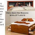 Cherry Queen Size 12 Drawer Platform Storage Bed + Queen Bookcase Storage Headboard