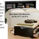 Black Queen Size 12 Drawer Platform Storage Bed + Queen Bookcase Storage Headboard