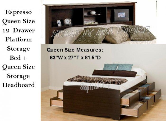 Espresso Queen Size 12 Drawer Platform Storage Bed Queen