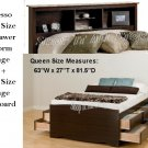 Espresso Queen Size 12 Drawer Platform Storage Bed + Queen Bookcase Storage Headboard