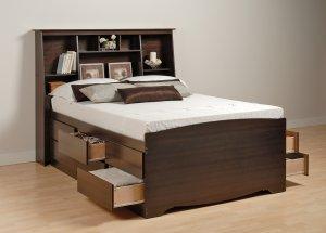 Espresso Queen Size 12 Drawer Platform Storage Bed + TALL Queen Bookcase Storage Headboard