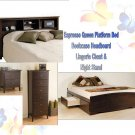 Espresso Queen 6 Drawer Platform Storage Bed + Bookcase Headboard + Night Stand + Dresser