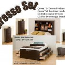 Espresso Queen Tall Storage Platform Bed + Tall Headboard + (2) Dressers + (2) Night Stands