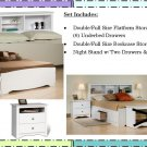 WHITE Double/Full Size Platform Storage Bed + Headboard + Night Stand Package