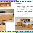 MAPLE Double/Full Size Platform Storage Bed + Headboard + Night Stand Package